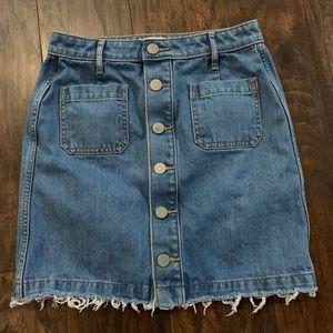 Loft Light Wash Mini Skirt
